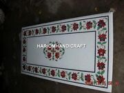 4and039x2and039 White Marble Table Top Carnelian Floral Mosaic Inlay Collectible Arts E356