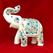 13and039and039 Popular Design Inlaid Marble Elephant Good Luck Art Garden Decorative H3764