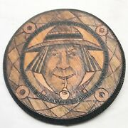Antique Wood Wooden Quimper Signed Wall Plaque Plate Round Dutch Man Poker Work