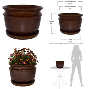 Planter Pot Ceramic Drainage Holes Saucer Indoor Outdoor Toffee Carafe 12 Inch