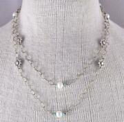 40 Silver And Fresh Water Pearl Flowers Long Navajo Necklace By Erick Begay Zl10u
