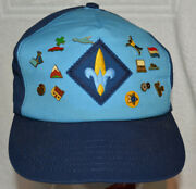 Cub Scout Webelos Cap Hat With 14 Pins Size M/lg Adjustable Made Usa
