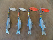 4 Rare Vtg Mepps Aglia Long Minnow Spinners 2- 3 And 2- 4 France 3/21