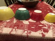 Vintage Pyrex Nesting Mixing Bowls Primary Colors 401, 402, 403, And 404 Set