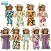 18inch American Girl Doll Clothes New Fashion Straw Hat And Skirt Suits