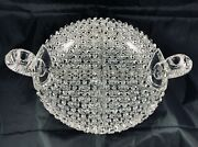 Antique American Brilliant Cut Glass Russian Daisy Button Divided Handled Dish