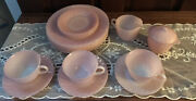 Vintage Fire-king Set Of 16 Pieces Pink Swirl Dishes, Cups, Creamer,sugar Bowl.