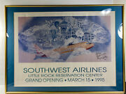 1995 Southwest Airlines Bill And Hillary Clinton Airport Little Rock Signed Framed