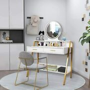 Makeup Dressing Table Vanity Set 2 Jewelry Drawerandlighted Round Mirror White