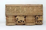 Ancient Detailed Hand Carved Indian Old Temple And Elephant Design Wood Wall Decor