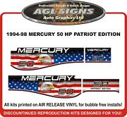 1994 1995 1996 1997 1998 Mercury 50 Hp Patriot Edition Decal Kit 40 Hp And 60 Hp