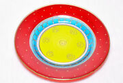 Vintage Collectible 4 Handpainted Holiday Christmas Red Green Blue And Gold Plates