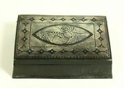 = Antique 1900and039s Asian Niello Box Silver Over Pewter Snuff Box