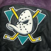 Nhl Anaheim Mighty Ducks Leather Jacket Menand039s Xl Vintage 90and039s Color Embroidered