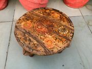 Antique Wooden Hand Carved Floral Painted Rare Coffee Table Bajot 12 X 12 X 8''