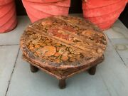 Antique Wooden Hand Carved Floral Painted Rare Coffee Table Bajot 16 X 16 X 7 And039and039