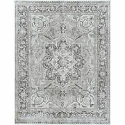 9and0393x12and039 Washed Out Gray Farsian Heris Vintage Worn Down Hand Knotted Rug R60177