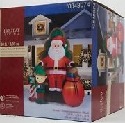 Christmas Gemmy 10 Ft Photo With Santa In Chair W/elf And Bag Of Gifts Inflatable