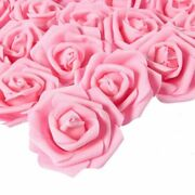 100-pack Pink Rose Artificial Flower Heads For Wedding Home Party Decorations