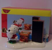 Santa Snoopy Christmas Give Loudly Dept 56 Peanuts Figurine Chimney Amp