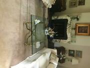 Brass And Glass Coffee Table Labarge Square Hollywood Regency Paw Foot