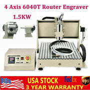 1.5kw Usb Cnc 4 Axis 6040t Router Engraver Pcb Pvc Milling Driiling Machine Er11