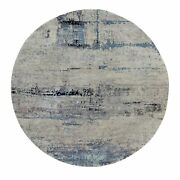 8and039x8and039 Silver Blue Wool And Silk Modern Abstract Design Oriental Round Rug R58881
