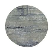 7'x7' Silver Blue Wool And Silk Modern Abstract Design Round Rug R58885