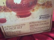 Deco Depression Glass Ware By Jeannette Pa 2417-18c Punch Bowl Set In Box Estate