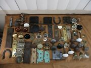 Huge Lot Of Antique Vtg Salvaged Door Hardware Knobs Plates Hinges 70 Pieces A