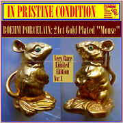 Boehm Porcelain Very Limited Ed 24ct Gold Plated Mouse No 3 Of 16 Only Made