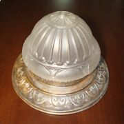 Reclaimed Antique Art Nouveau Pressed Glass And Tin Ceiling Flush Fixture 16and039 Diam