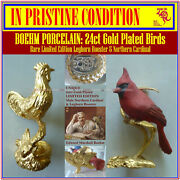 Boehm Porcelain Limited Ed 24ct Gold-plated Northern Cardinal And Leghorn Rooster