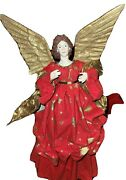 Christmas Tree Angel Topper Red And Gold Crepe Paper Mache 18 Star And Moons