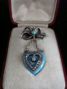 Victorian 18ct Gold Tessier Enamel Turquoise Diamond Bow Heart Brooch Fitted Box