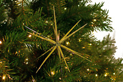 Gold Christmas Star Ornaments Hanging Tree Decorations Starbursts Holiday - 12