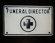 Antique Funeral Director Car Auto License Plate Topper Front Vanity Hearse Old +