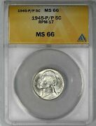 1945 P/p Jefferson Nickel 5c Anacs Certified Ms 66 Rpm 17 Tied Finest 602