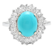 3.50 Carats Natural Turquoise And Diamond 14k Solid White Gold Ring