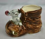 Lovely Vintage 1960s Japanese Ceramic Mouse In Boot Kitsch Collectable