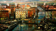 Syracuse History Erie Canal 24x42 In. Oil On Panel Hall Groat Sr.