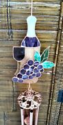Nwt Stained Glass Wine And Grapes Windchimes 41 Length Large Unique