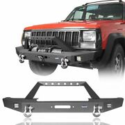 Full Width Front Bumper W/ Led Lights And Winch Plate For Jeep Cherokee Xj 84-01