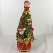 Christmas Bottle Brush Tree Santa And Gifts Packages Gold Glitter Music Vintage