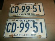 Pair Vintage 1962 License Plates Plate Md Maryland Cd-99-51