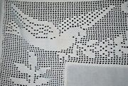 Vintage Bedspread With Love Birds, Wide Crochet Trim, Cutout For Poster Bed