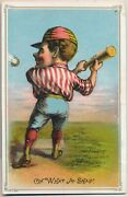 1890 Large Baseball Trade Card Oh What A Snap Tobin Litho Possibly 4 By 6