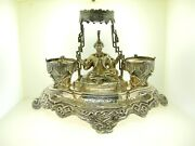 C. 1850 French Silver Very Fancy Inkwell - 7 1/4 Tall X 11 Wide - 602 Grams