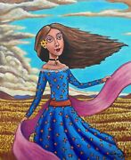 Fields Of Flowers Windy Day Girl In The Outdoors Painting By German Rubio