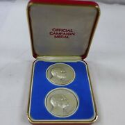 1968 .999 Silver Gop Campaign Medals, Richard Nixon And Spiro Agnew 2.2 Oz Total.